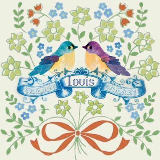 Geboortekaartje Louis - origineel geboortekaartje in folklore vintage stijl met vogeltjes en bloemen - www.petitkonijn.nl