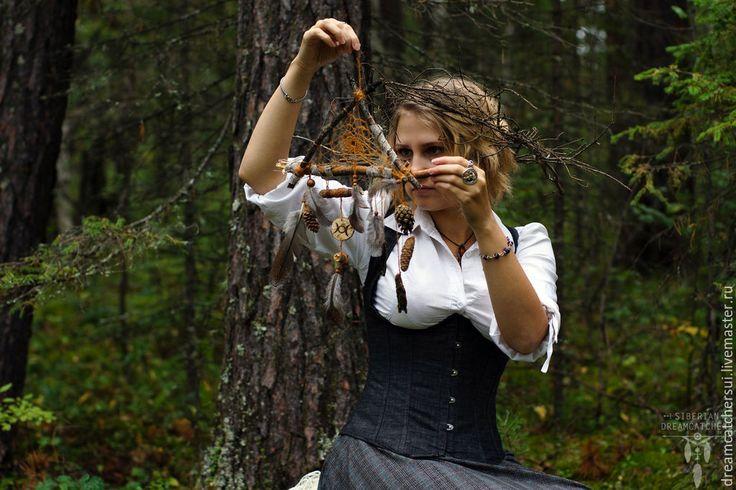 """Купить Ловец снов""""Лесная ведьма"""" - оранжевый, викка, викканство, викканский стиль, кельтика, магия, лес"""
