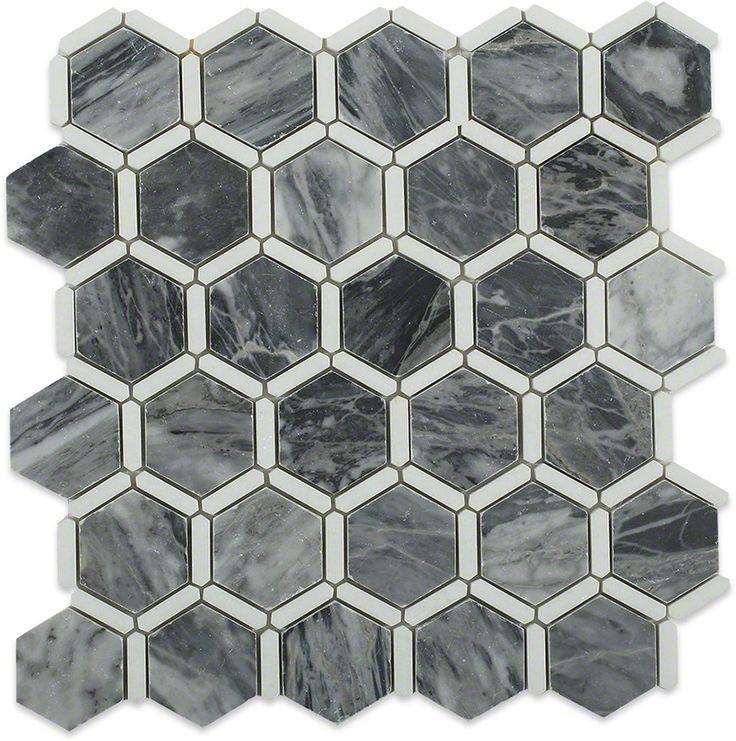 Florentine Dark Bardiglio Marble Tile With Thassos Line $19.49