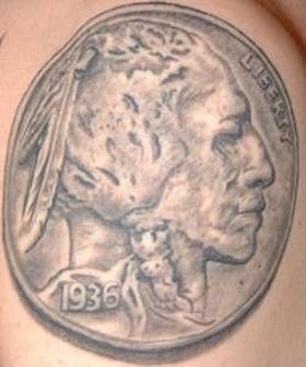 Buffalo Nickel Tattoo ~ Native American Tattoos from Tattoo Valley