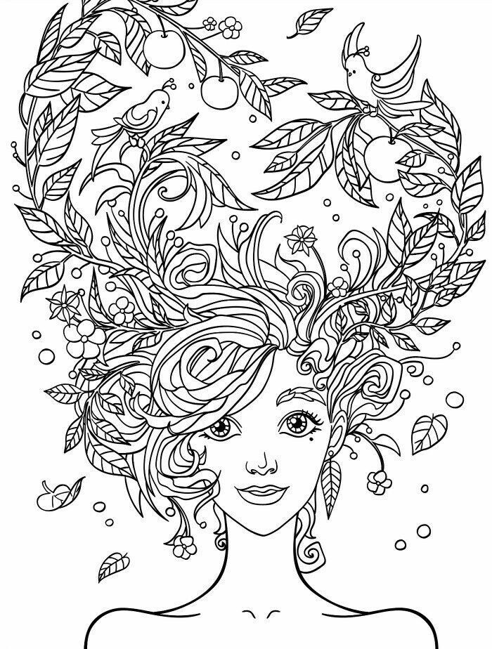 Crazy Hair Adult Coloring Page