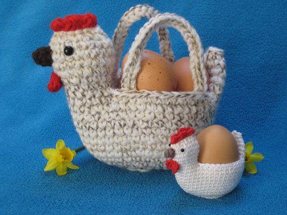Chicken Egg Basket Bowl Easter Spring Amigurumi by Millionbells