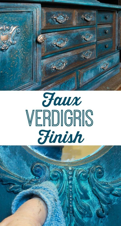 Faux Verdigris Finish Paint Technique. Great on Furniture, Home Decor Projects…