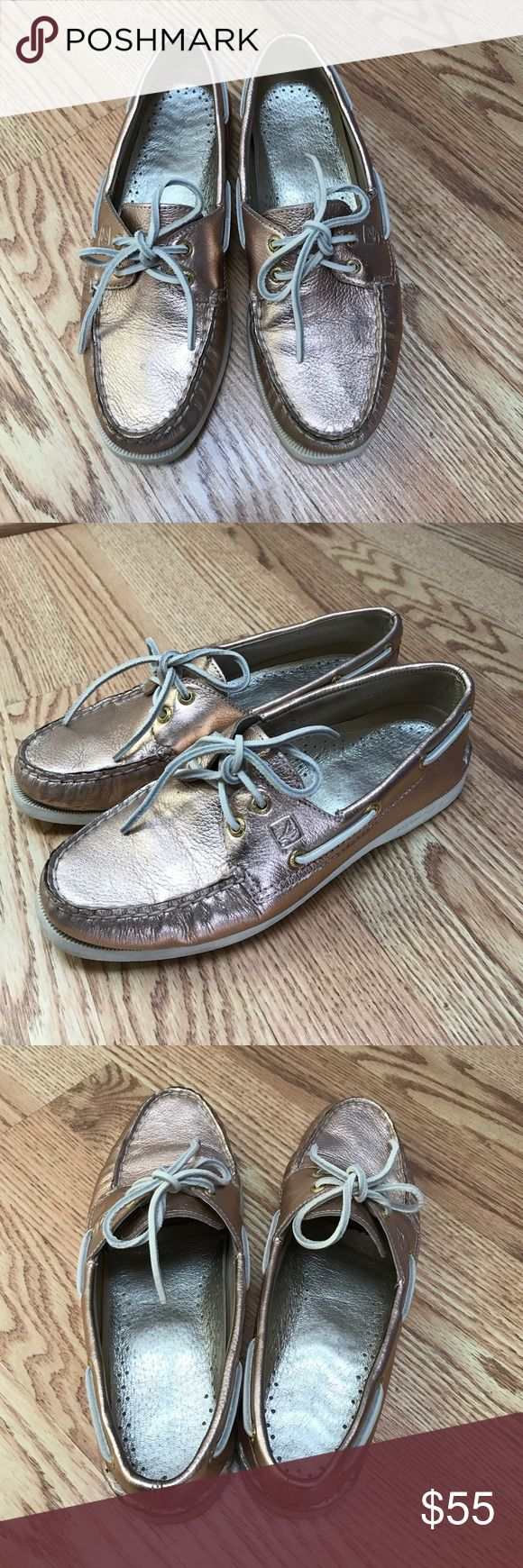 Rose Gold Sperry's Rose gold Sperry's only worn once in great condition. This color is great for Spring! Metallic leather upper, leather lining, rubber sole. Sperry Top-Sider Shoes Flats & Loafers