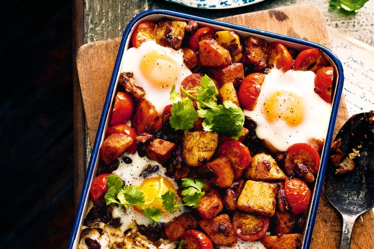 Nestle wobbly eggs into a tasty jumble of beans, crisp potatoes and ...