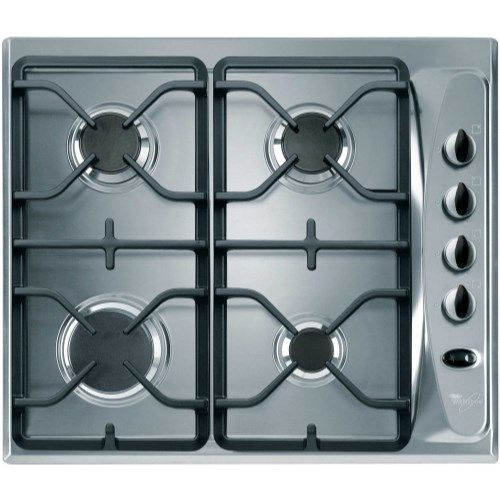 Whirlpool AKM274IX Stainless Steel Four Burner 60cm Gas Hob With Cast Iron Pan Stands
