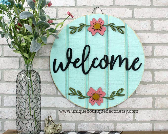 Hello Sign Spring Door Hanger Hello Door Hanger Year Round Etsy Spring Door Hello Sign Farmhouse Wall Decor