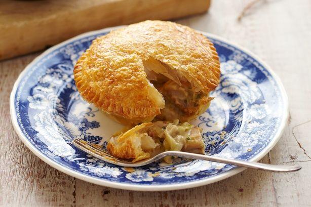 Creamy chicken and leek pies