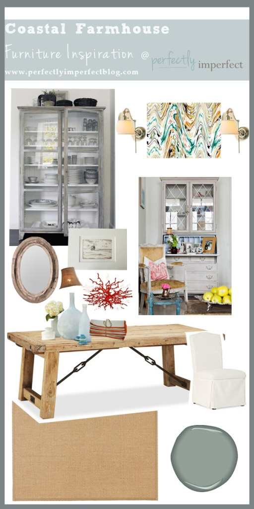 Coastal farmhouse furniture inspiration via perfectly imperfect: Dining Rooms, Paint Furniture, Inspiration Board, Furniture Inspiration, Coastal Furniture, Painted Furniture, How To Paint, Home Decorating Ideas