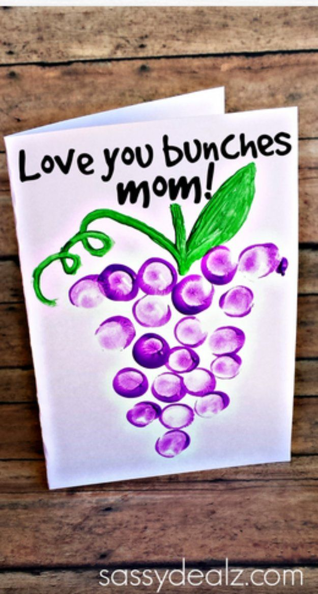 DIY Mothers Day Cards - Love You Bunches Thumbprint Mother's Day Card - Creative and Thoughtful Homemade Card Ideas for Mom - Step by Step Tutorials, Best Quotes, Handmade Projects http://diyjoy.com/diy-mothers-day-cards