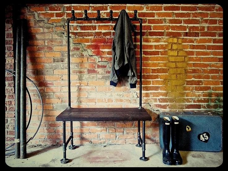 Industrial Coat Rack Bench Possum Belly. $329.00, via Etsy.