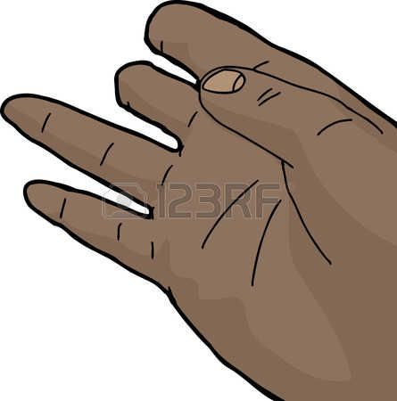 Isolated cartoon of human hand with missing fingers photo