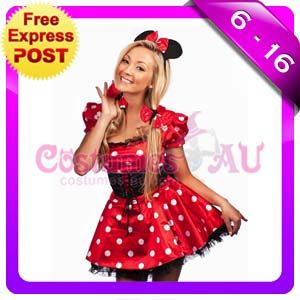 Ladies Minnie Mickey Mini Mouse Costume Fancy Dress Halloween Hens Disney Outfit | eBay