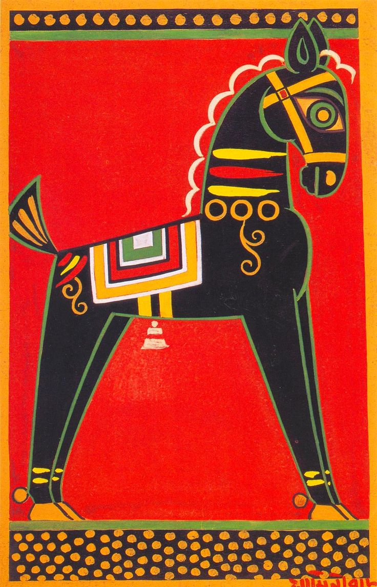 Jamini Roy - Black Horse, Tempera on paper, 29.8 x 46.7 cm, (Acc. No. 79),  National Gallery of Modern Art, New Delhi