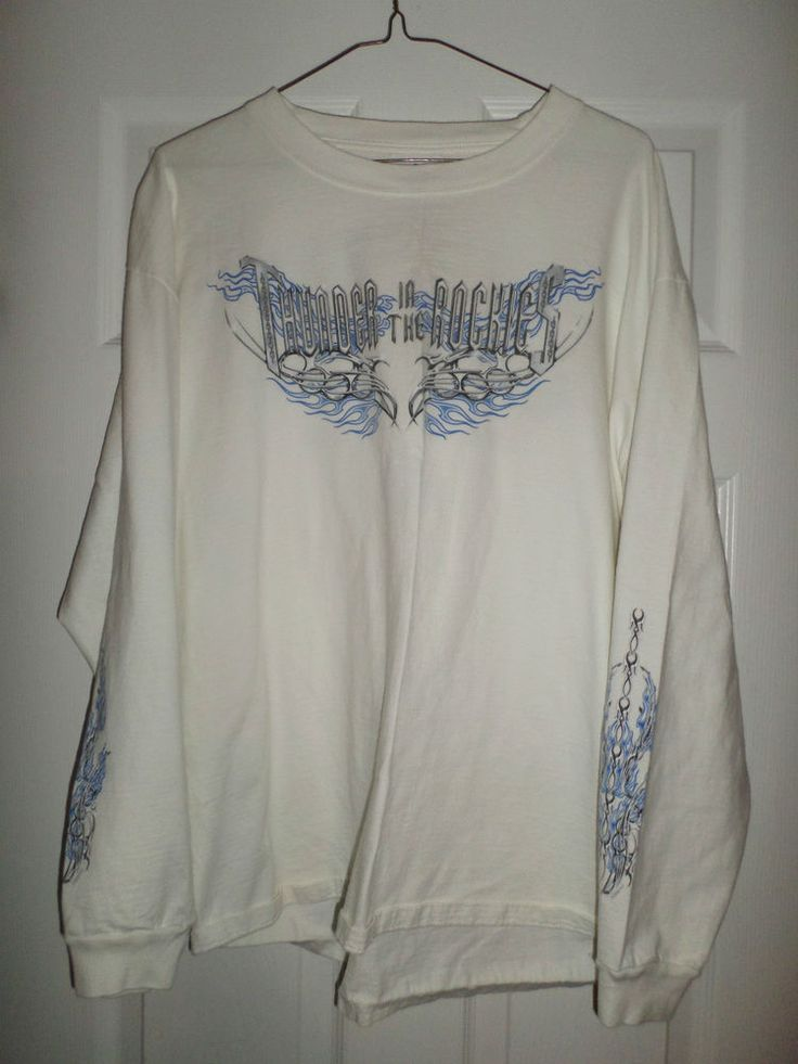 Mens White, Blue, Grey HARLEY-DAVIDSON LOVELAND, CO Rockies Logos Shirt, Size XL #HarleyDavidsonMotorcycles #CrewNeck
