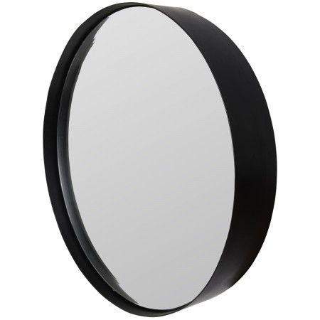 """Pour un accessoire de déco tendance dans la maison, Drawer a sélectionné ce miroir rond mural Raj. Avec son cadre noir, il ajoute une touche moderne un peu """"indus"""" à la pièce où il est posé. Il est proposé en 3 tailles différentes qui permettent de faire une jolie composition murale !"""