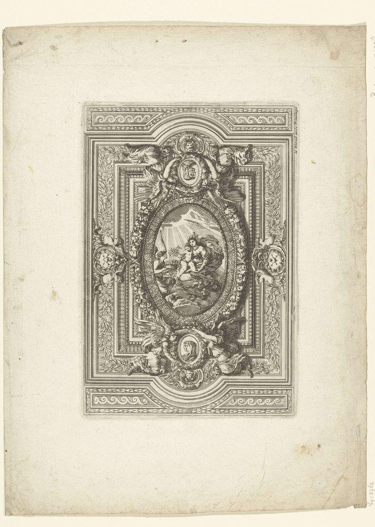 Jean Lepautre | Plafond met Heilige Maagd en Kind in ovaal, Jean Lepautre, after 1628 - before 1667 | Boven- en onderaan staat een ovaal met een dubbel portret afgebeeld. Blad 3 uit serie van 12.