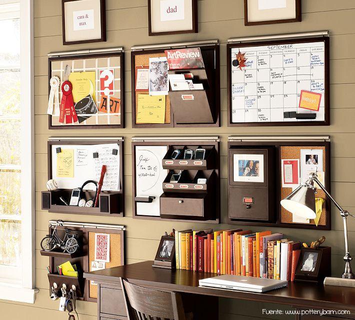 Organizadores para la pared. Son diferentes accesorios para elegir según las tareas de cada uno.