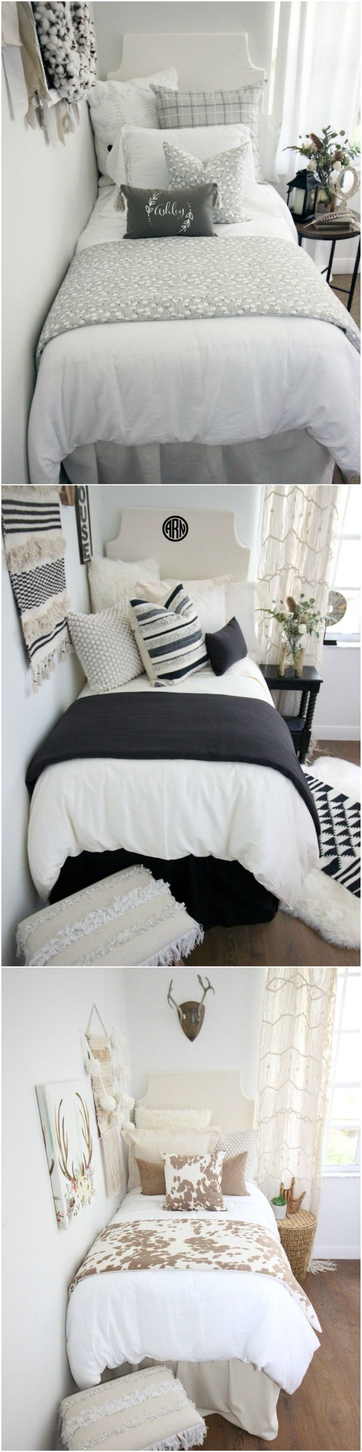 "Decorating a dorm room? Check out Decor 2 Ur Door for tons of college dorm room inspiration - from boho dorm room decor to preppy Lilly dorm rooms. Get the ""Fixer Upper"" farmhouse dorm room look with Magnolia Homes pillows and rugs or take a walk on the wild side with this blush and cheetah print dorm room. There are hundreds of dorm room bedding sets to fit your unique personality and style. We adore these custom-made designer headboards for dorm rooms, extended-length dorm room bed skirts"