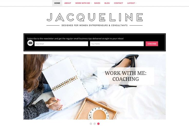 Meet Jacqueline, a chic WordPress Theme for coaches and consultants. User-friendly with prominent placement for newsletter subscription form