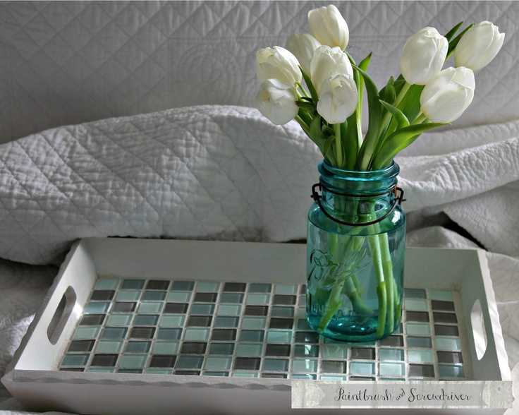 Frugal Foodie Mama: Say Hello to Paintbrush & Screwdriver! {DIY Glass Mosaic Tile Tray Tutorial & a Giveaway}