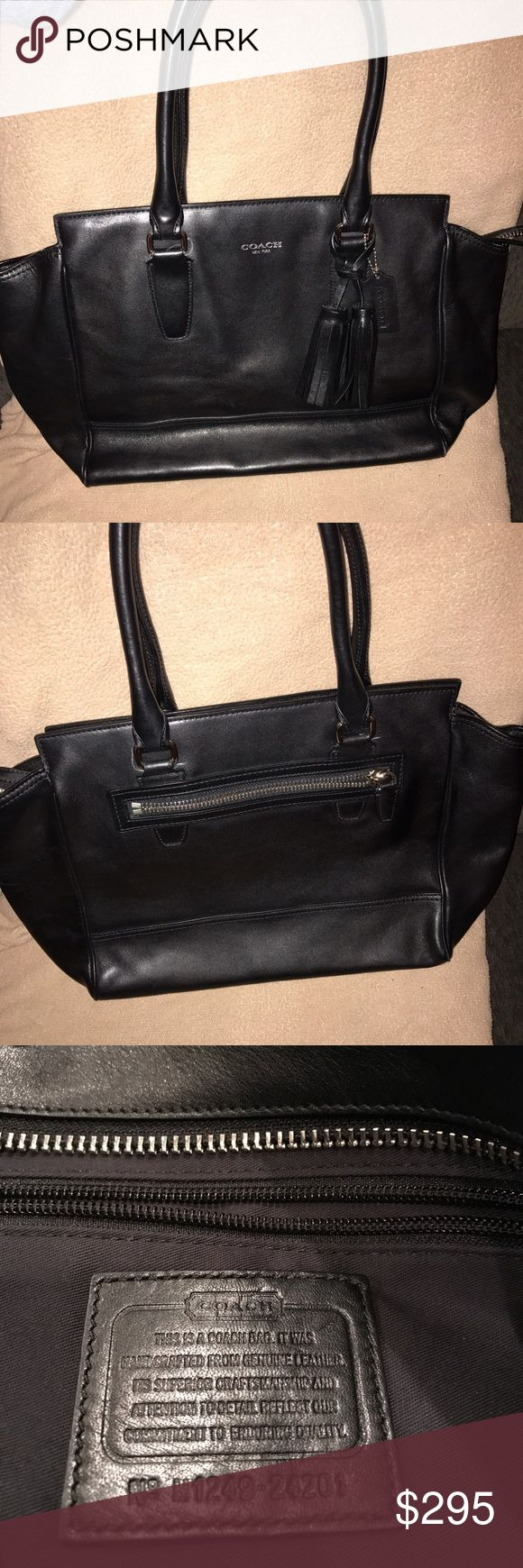 Coach Legacy Satchel Handbag Like new condition. Only worn once. Beautiful black leather, no damage to the bag. Can be worn on arm or on shoulder. Roomy inside. Smoke free, pet free home. Coach Bags Shoulder Bags