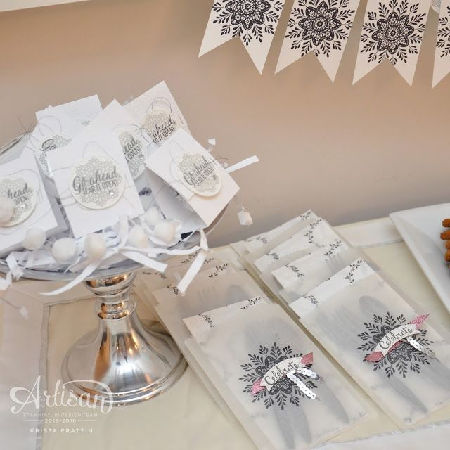 Winter Party Decor using the Fancy Frost Suite from Stampin' Up! - Krista Frattin