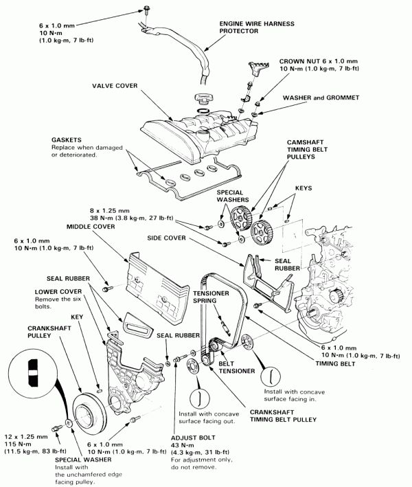 16 94 Honda Prelude Wiring Diagram Engine Pulley Engine Diagram