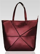 Shine Bright Leather Handbag - www.niclaire.com.au #leather #handbag #ladieshandbag #metallicleather #fashion #totebag #tote #red #burgundy #maroon