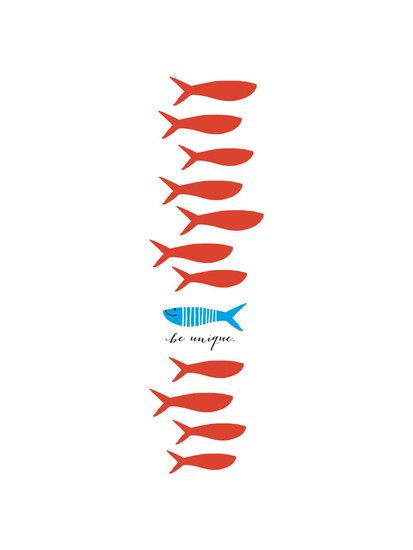 """Unique Fishy by Oscar & Emma for Minted  @Jillian Medford Makos something other than """"be unique""""?"""