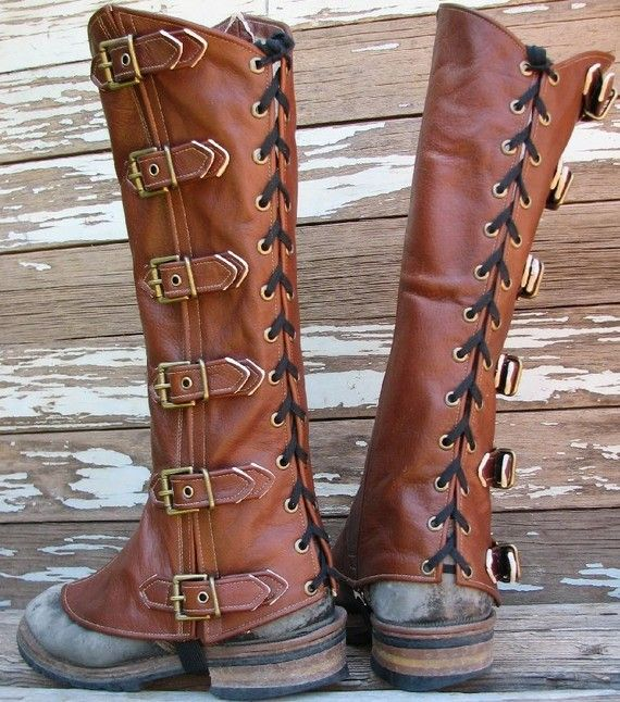 Finally, a solution for how to wear waterproof, awesome, lame looking hiking boots while LARPing.  Brown Leather Steampunk Dieselpunk Gaiters - $118 - from vampieoodles.