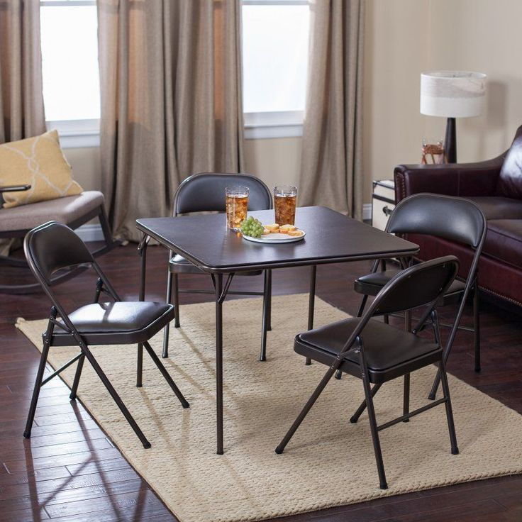 Meco Sudden Comfort Deluxe Double Padded Chair and Back- 5 Piece Card Table Set - Cinnabar - E47.02.5B1