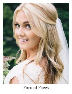 Romantic bridal hair, half up half down loose curls with veil, hairstyle by Formal Faces.