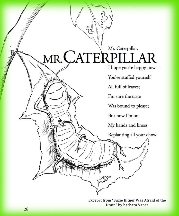 children's poem about Spring and bugs and a caterpillar. Great for school and classroom activities. common core 1st grade, 2nd grade, 3rd grade reading, kindergarten and ESL