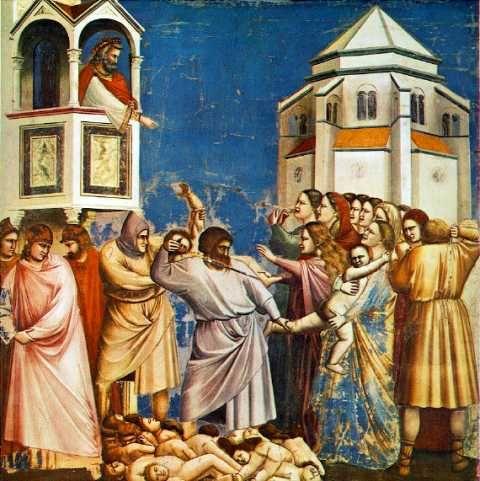 La matanza de los Inocentes.  Obra realizada por Giotto di Bondone entre los años 1302 y 1305. Pertenece al estilo gótico.  Esta obra dentro del género gótico rompe lo anteriormente establecido al dar muchísima importancia al detalle y la fuerza expresiva. Giotto nos enseña como sus personajes pasan miedo, se mueven y se quejan.