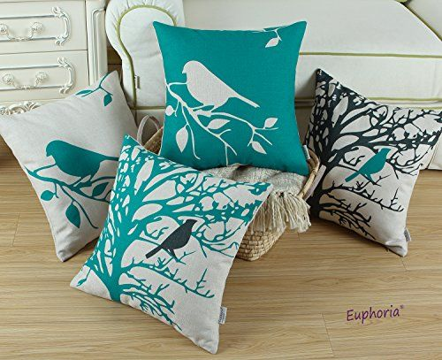 "SET OF 4 Euphoria Home Decorative Cushion Covers Pillows Shell Cotton Linen Blend Vintage Black Teal Bird Branches Tree 18"" X 18"" Euphoria http://www.amazon.com/dp/B00ZR0Q7XM/ref=cm_sw_r_pi_dp_c4.cwb1YZF754"