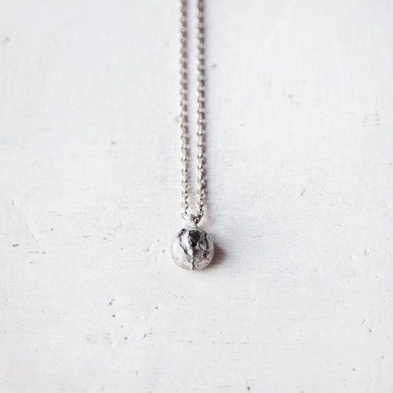 Black Diamond Sterling zilveren hanger ruw / door BlueBirdLab