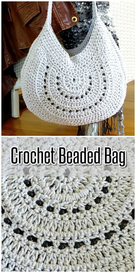 Crochet Bag | Cotton Tote Beach Bag | Beaded Boho Shoulder Bag | Handmade Womens Handbag | Womens Ladies Accessories