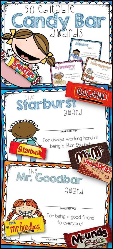 50 EDITABLE Candy Bar Superlative Awards for the End of School.  Each candy award is offered in both a girl graphic & boy graphic. It's also available in both a colorful sunburst background and one with a white background to help save your ink.  $6