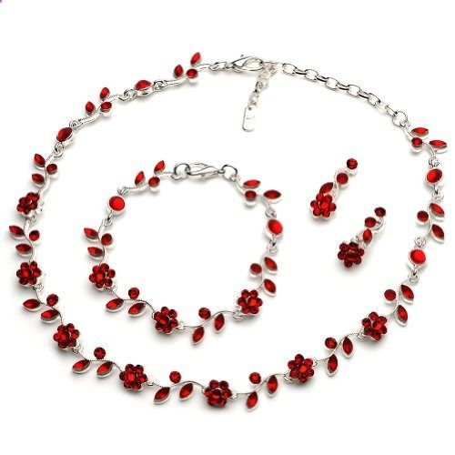 USABride Red Floral Vine 3-Piece Necklace, Bracelet and Earrings Jewelry Set 1556 R. Read more description on the website.