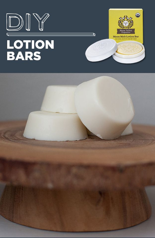 DIY Lotion Bars | 1/5 of a 1lb bar of beeswax  1/2 cup almond oil  1/2 cup coconut oil
