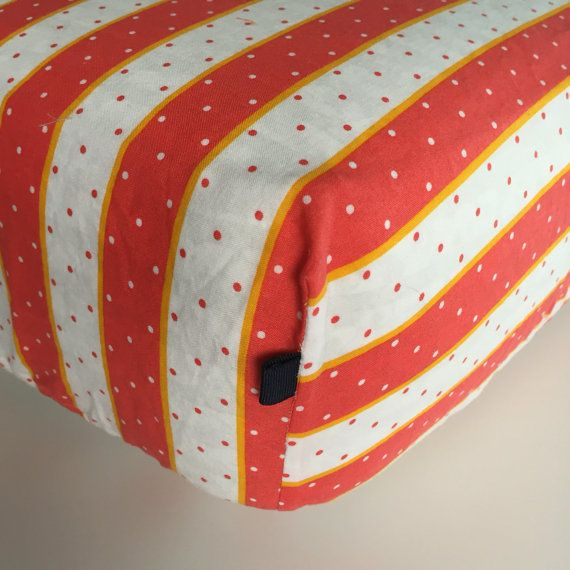 FITTED CRIB SHEET  Orange and White with Polka Dots  by Beakyriboo