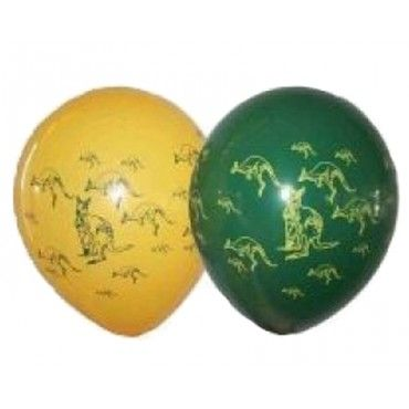 green and gold balloons with kangaroos for australia day celebrations.