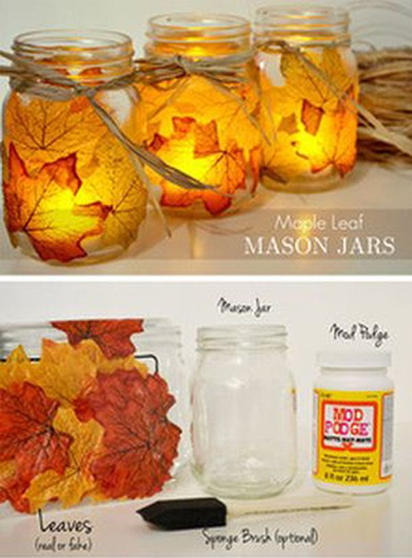 DIY Maple Leaf Mason Jar Candle Holder  I so want to do this!!! I'm looking for any kid of pretty seasonal DIY decorations