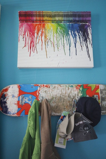 I love both the crayon art, and the skateboard turned hooks.