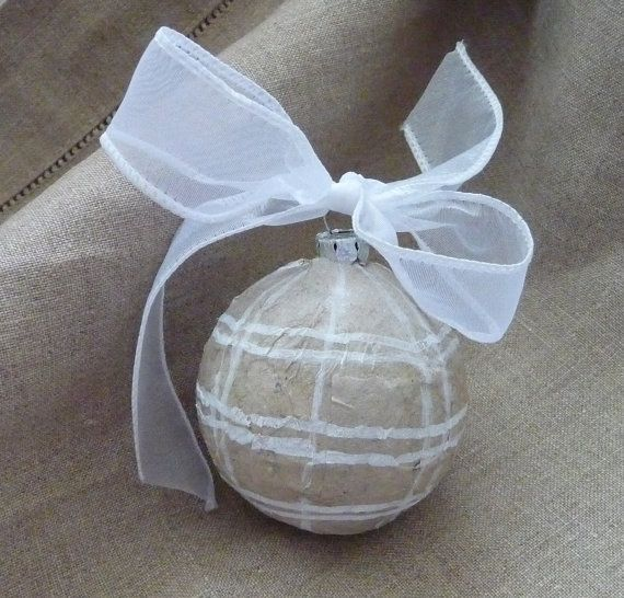 Burlap and Bows Christmas Rustic Ornaments Handmade and Up-cycled