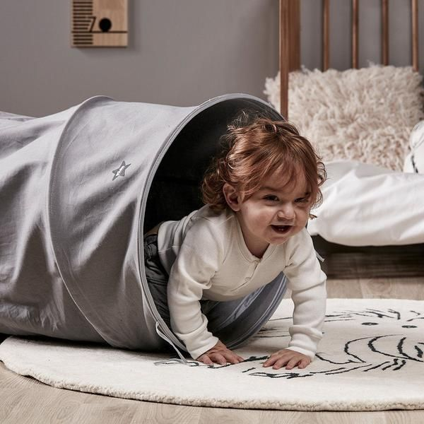 Kids concept grey canvas play tunnel - Scandibørn
