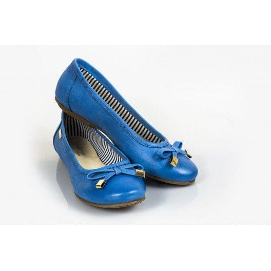 Női bőr balerina kék DT231 - manozo.hu