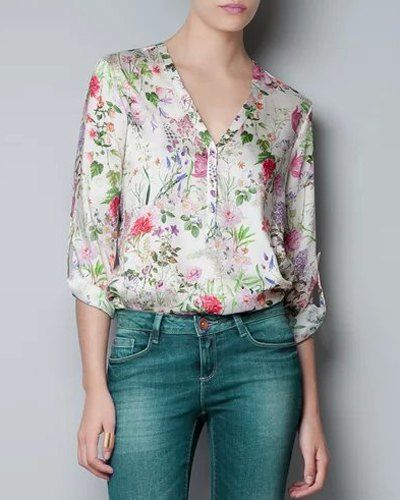 Chic Tiny Floral Printed V-Neck Long Sleeve Blouse For Women