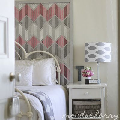 Guest bedroom: pegboard headboard! Paint pegboard, then weave colors and a design. Simple!